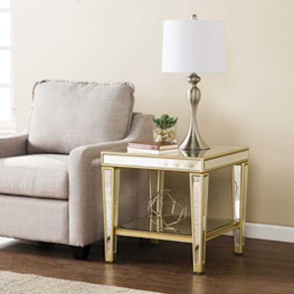 Ck8122 Metz By Southern Enterprises Mirrored End Table Glam