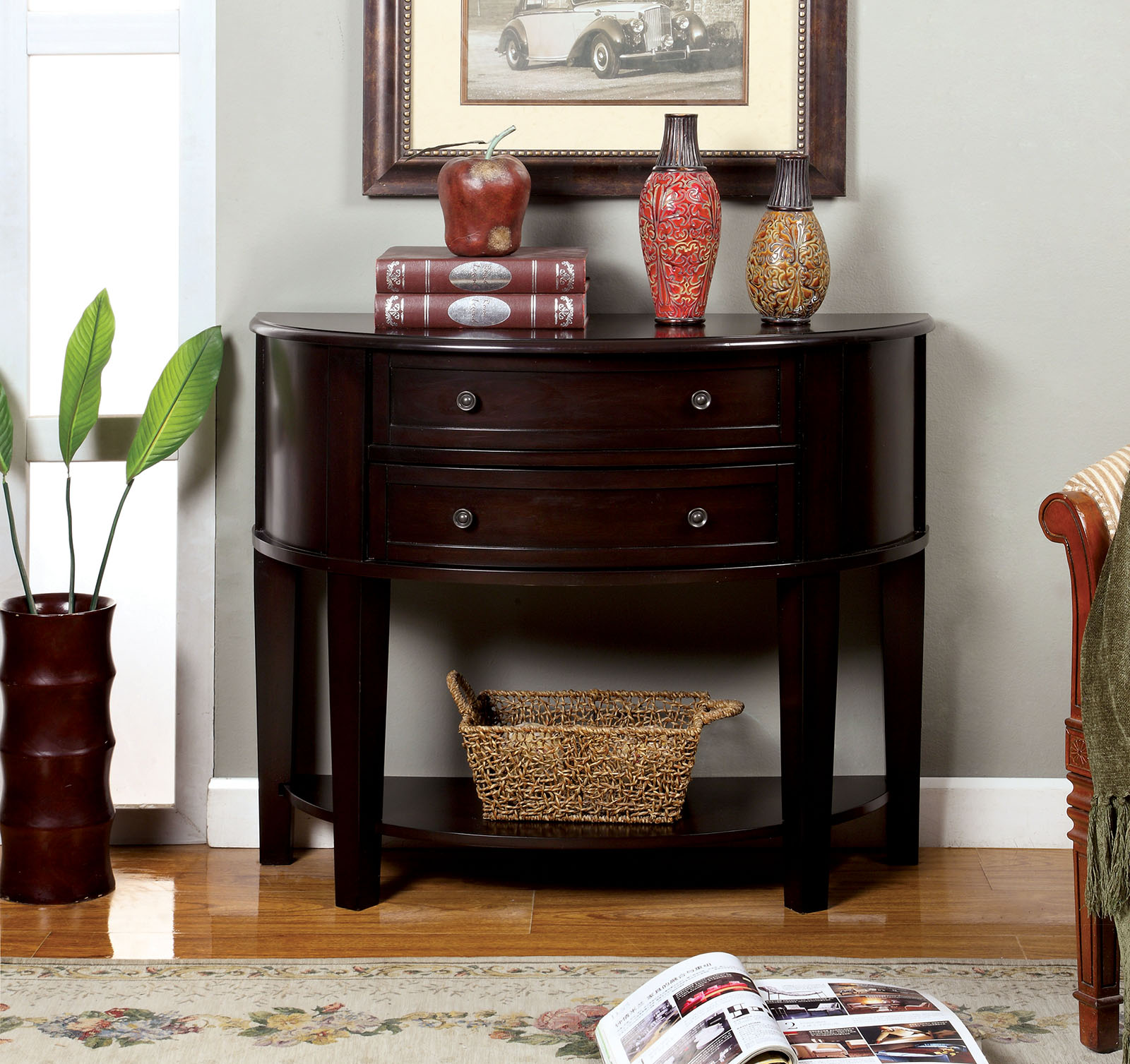 Furniture of america ac211 transitional espresso side table chanti collection ac211 espresso console table geotapseo Images