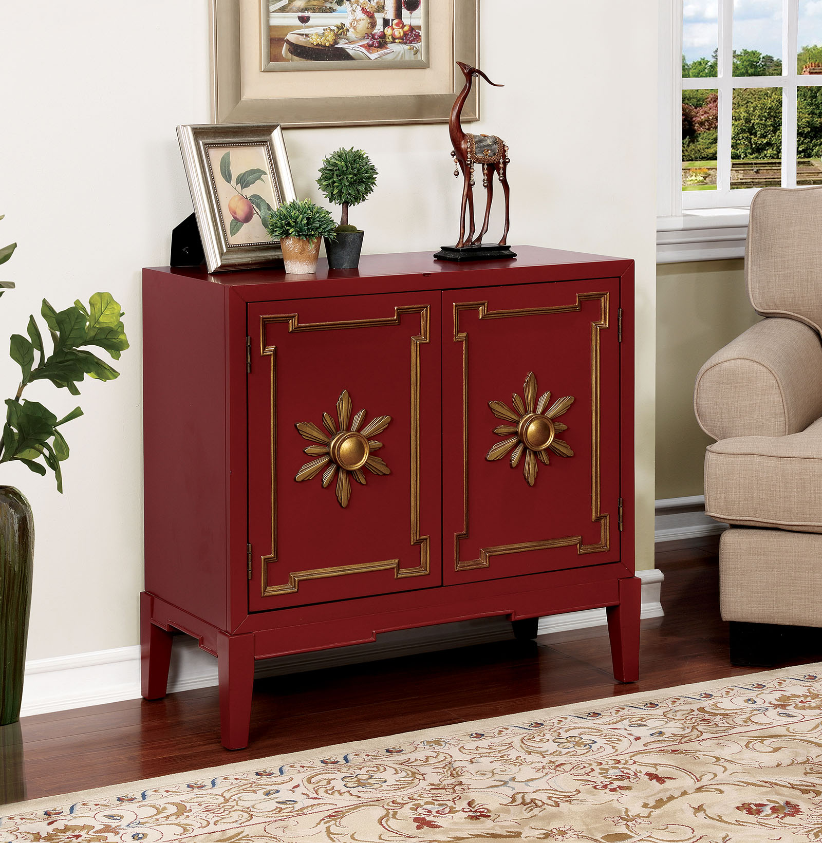 - Furniture Of America CM-AC304RD Red Wooden Vintage Accent Cabinet