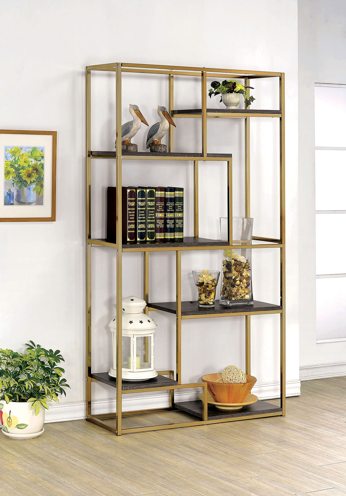 Furniture of america cm ac6264cpn bookshelf 6 tier shelves for Furniture of america nara contemporary 6 shelf tiered open bookcase