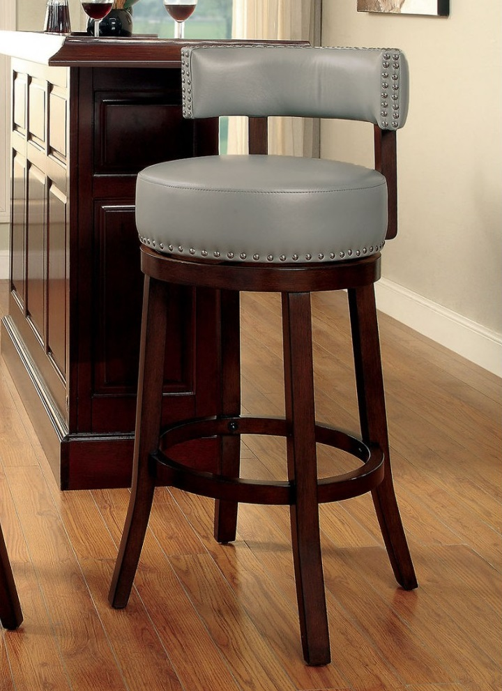 Buchanan By Furniture Of America CM BR6251GY Swivel Bar Stool Set Of 2