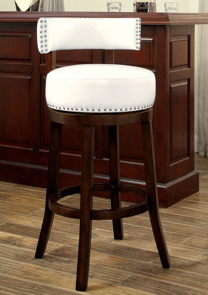 Buchanan By Furniture Of America CM BR6251WH Swivel Bar Stool Set Of 2