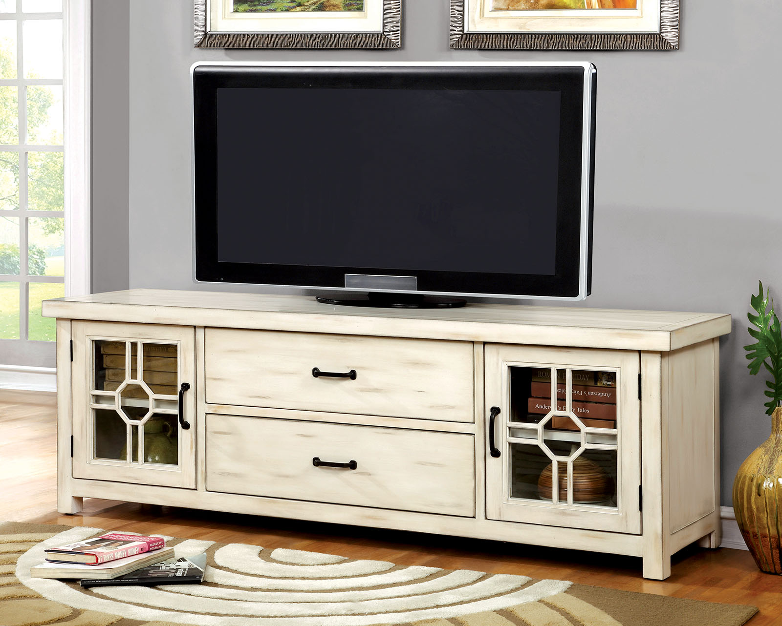 Tv television stands austin s furniture - Ridley Cm5230 Rustic White 62 Tv Stand