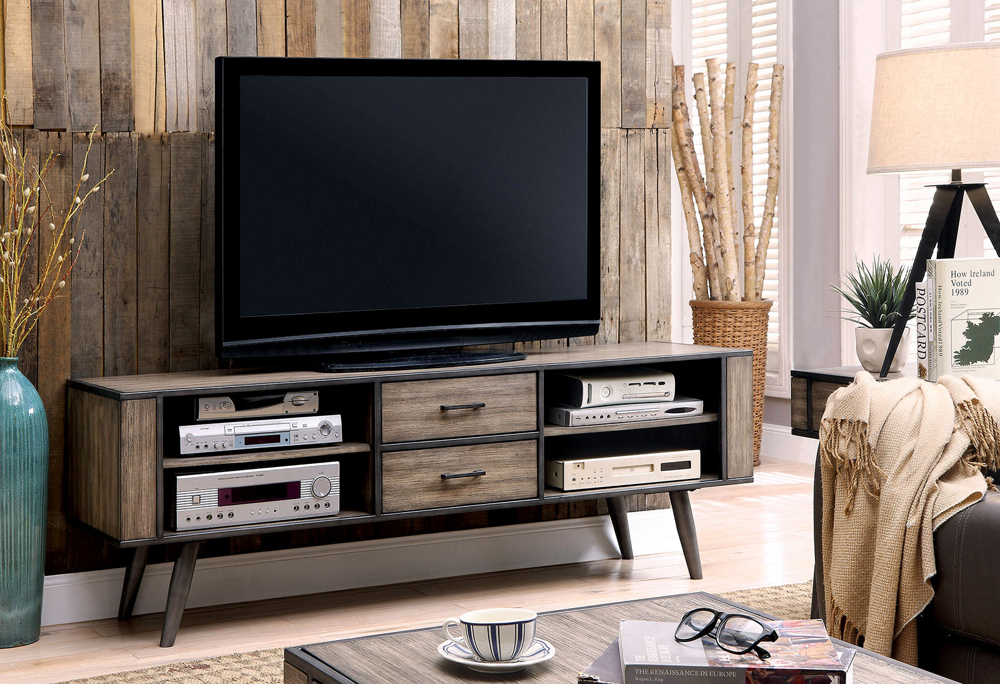 Furniture of America CM5360 Metal Frame storage drawers gray TV Stand