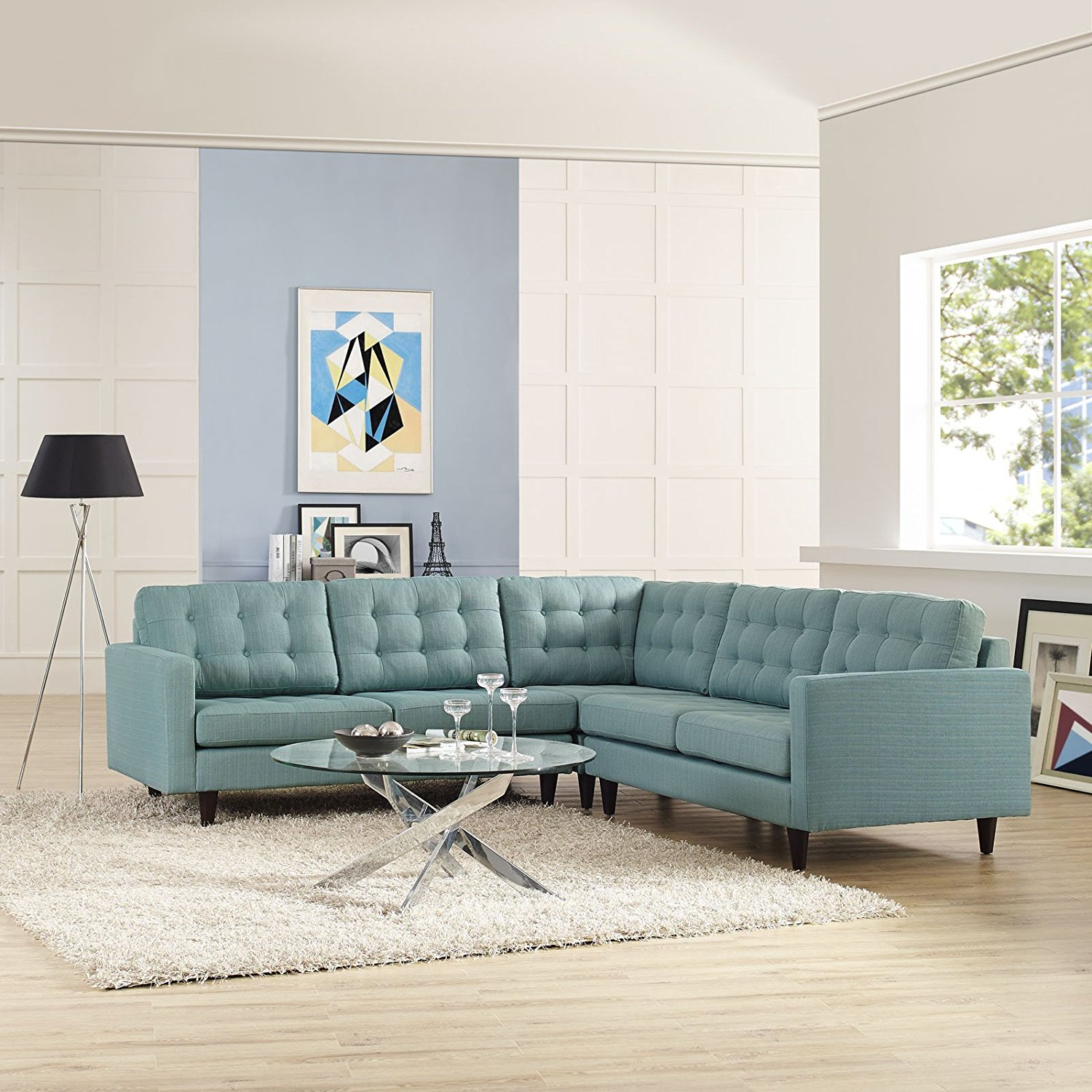Modway Furniture Empress Modern Light Blue Fabric Sectional