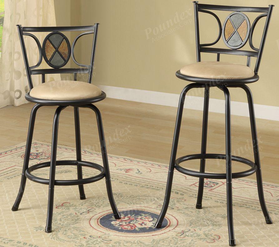 Miraculous Poundex F1434 Swivel Bar Stool Set Of 2 Metal With Microfiber Cushion Dailytribune Chair Design For Home Dailytribuneorg