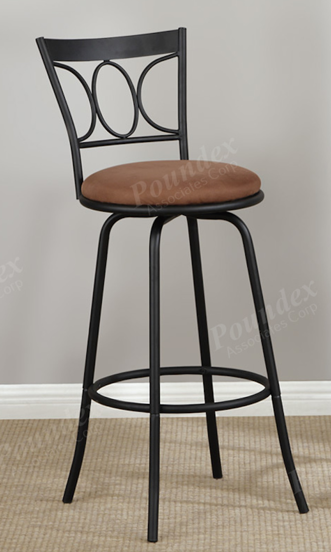 Fine Poundex F1483 Swivel Bar Stool Set Of 2 Metal With Microfiber Cushion Dailytribune Chair Design For Home Dailytribuneorg
