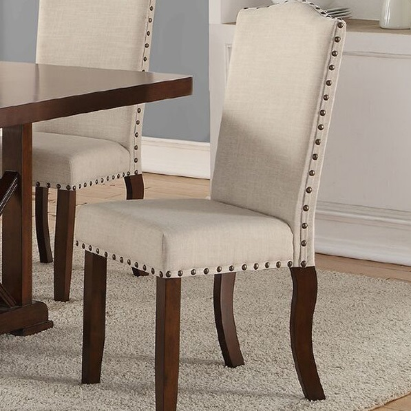 Terrific Poundex F1546 Cherry Brown Finish Fabric Dining Chair Set Of 2 Caraccident5 Cool Chair Designs And Ideas Caraccident5Info