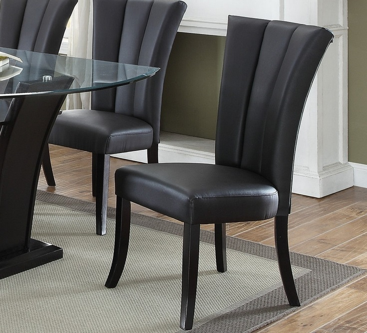 Poundex F1591 Black Faux Leather Dining Chair