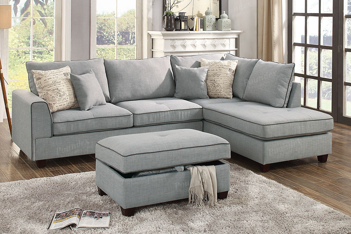 June Collection F6543 Reversible Light Grey Sectional