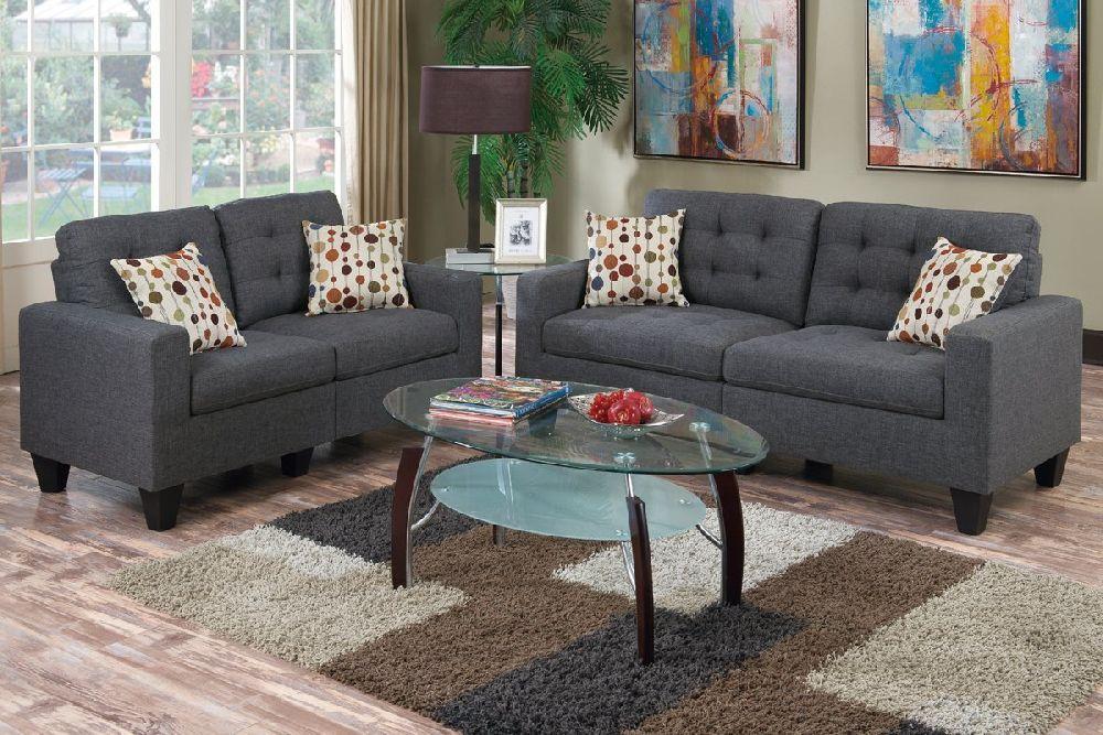 Poundex Cairo F6901 Blue Grey Polyfiber Sofa And Loveseat Set