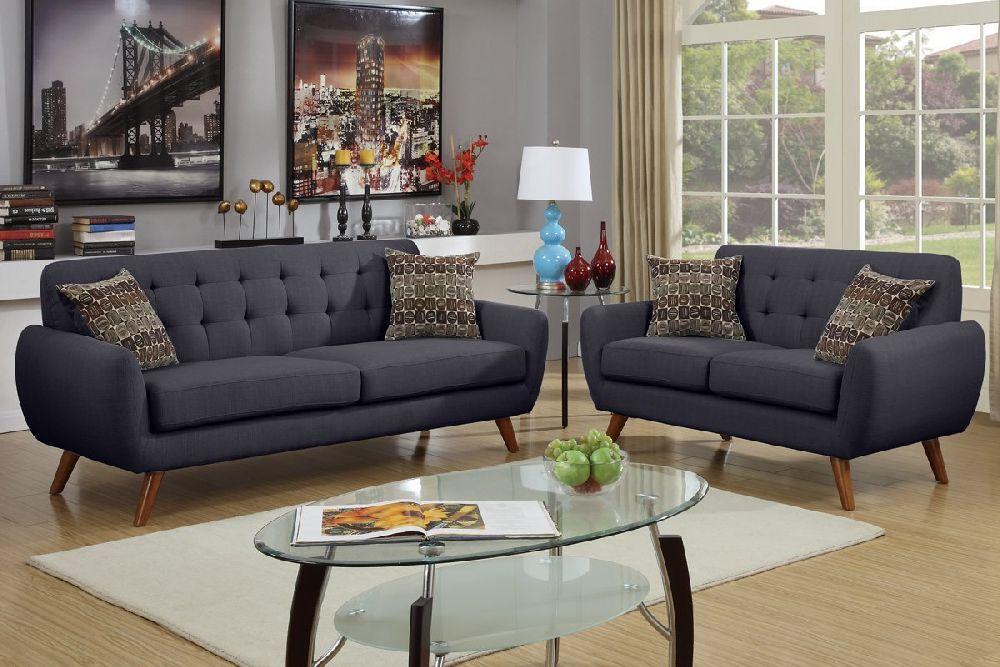 Bolin F6913 Ash Black Fabric Sofa and Loveseat Set