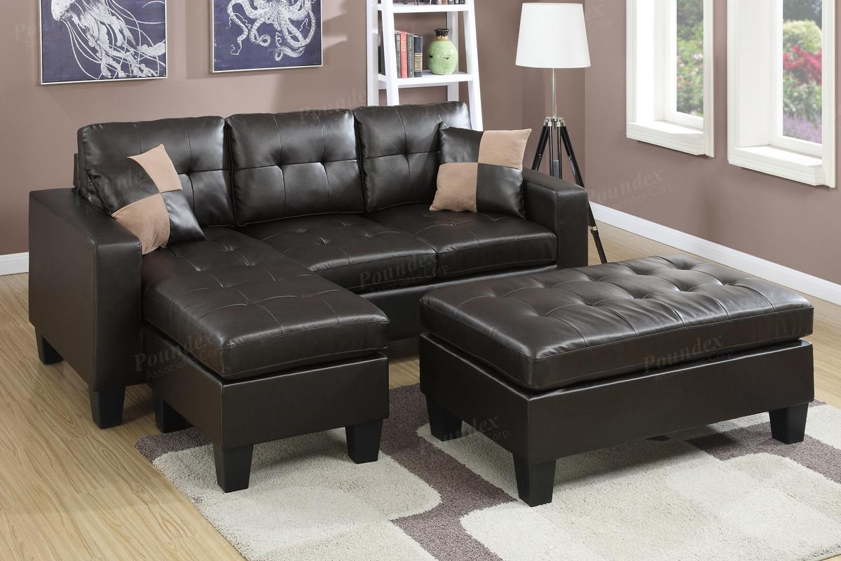 Poundex Bobkona F6927 Espresso Tufted Sectional & Large Ottoman