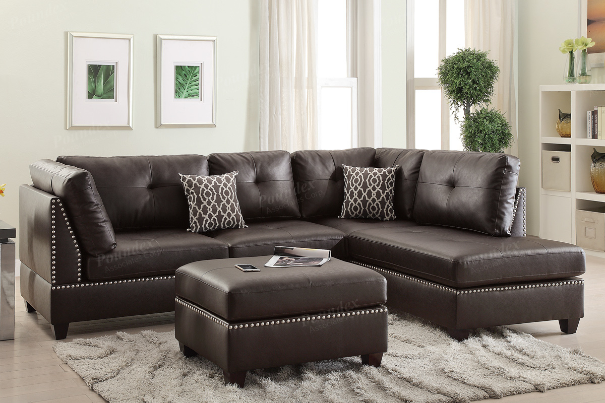 Poundex Bobkona F6973 Espresso Reversible Chaise Sectional