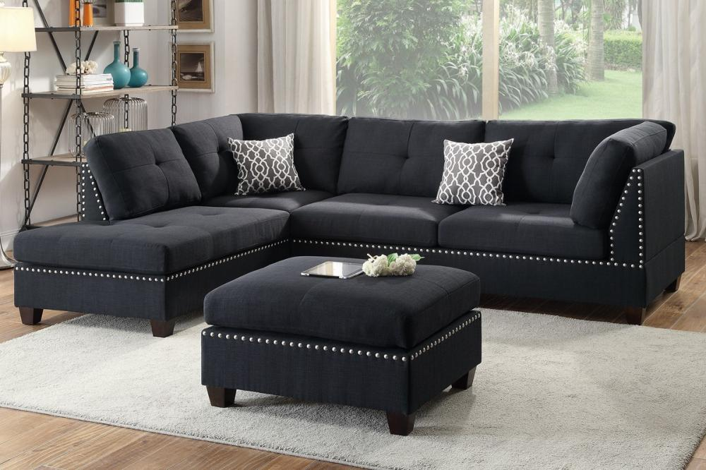 F6974 Black Reversible Chaise Sectional