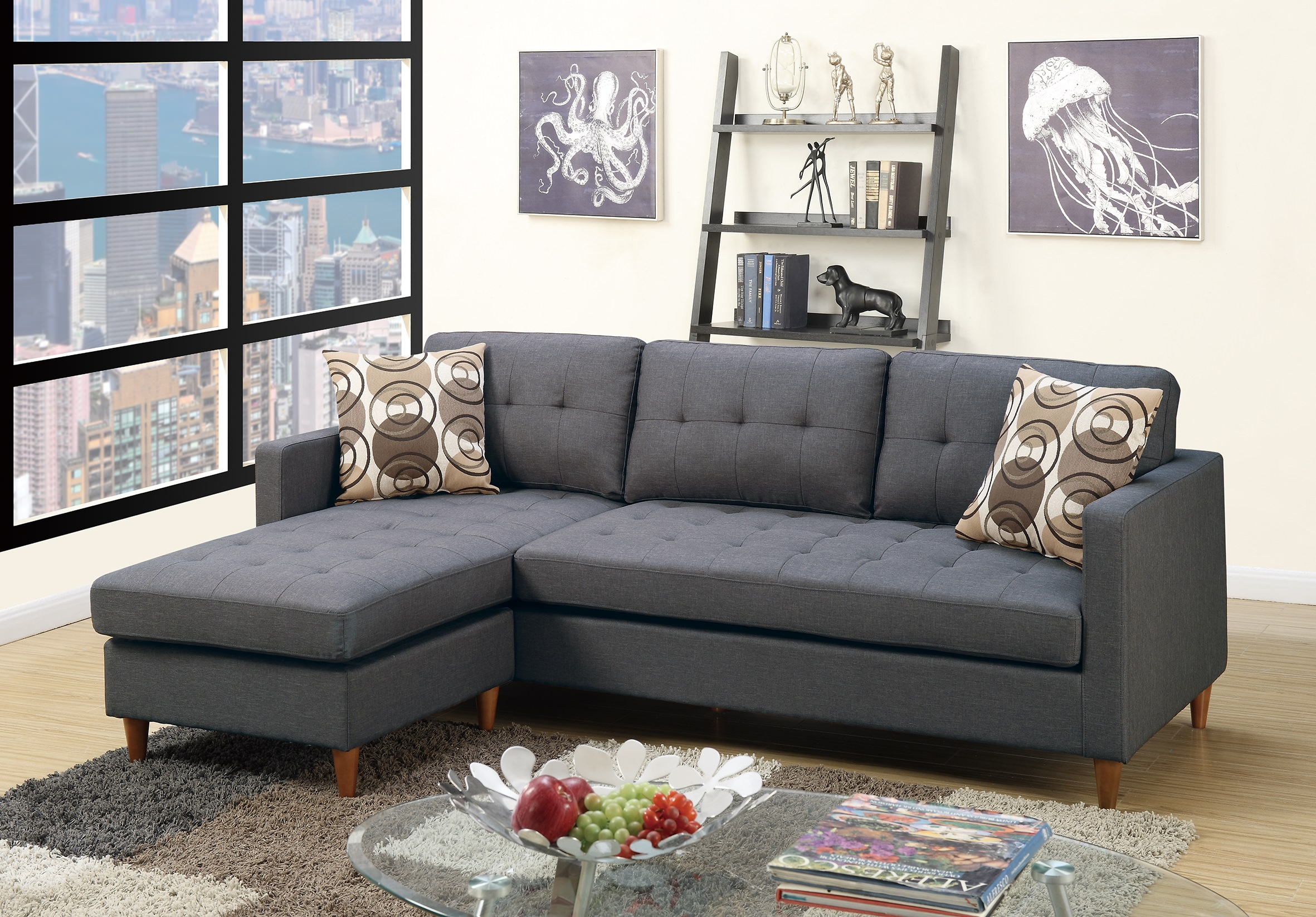Poundex bobkona f7094 blue grey retro tufted reversible for Blue grey couch