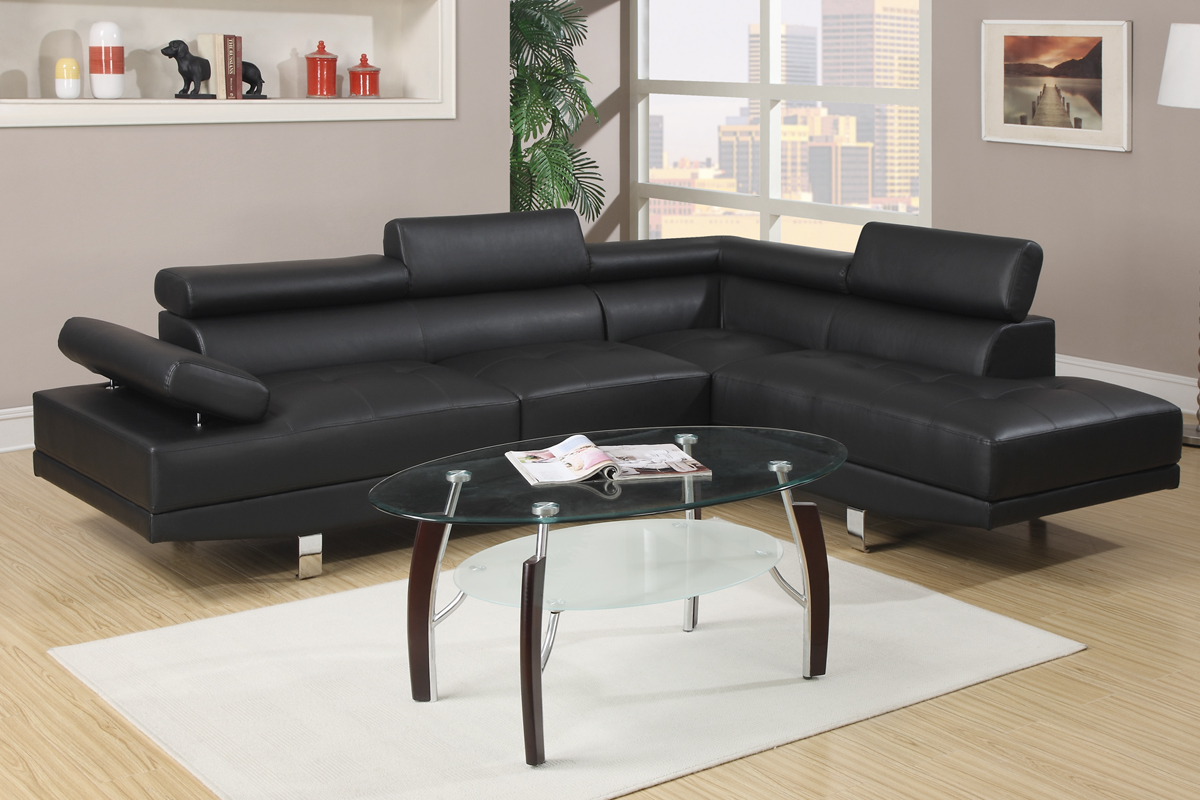 Chandler F7310 Black Modern Adjustable Sectional