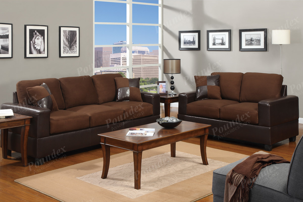 Zuko F7591 Chocolate Microfiber And Faux Leather Sofa And Loveseat