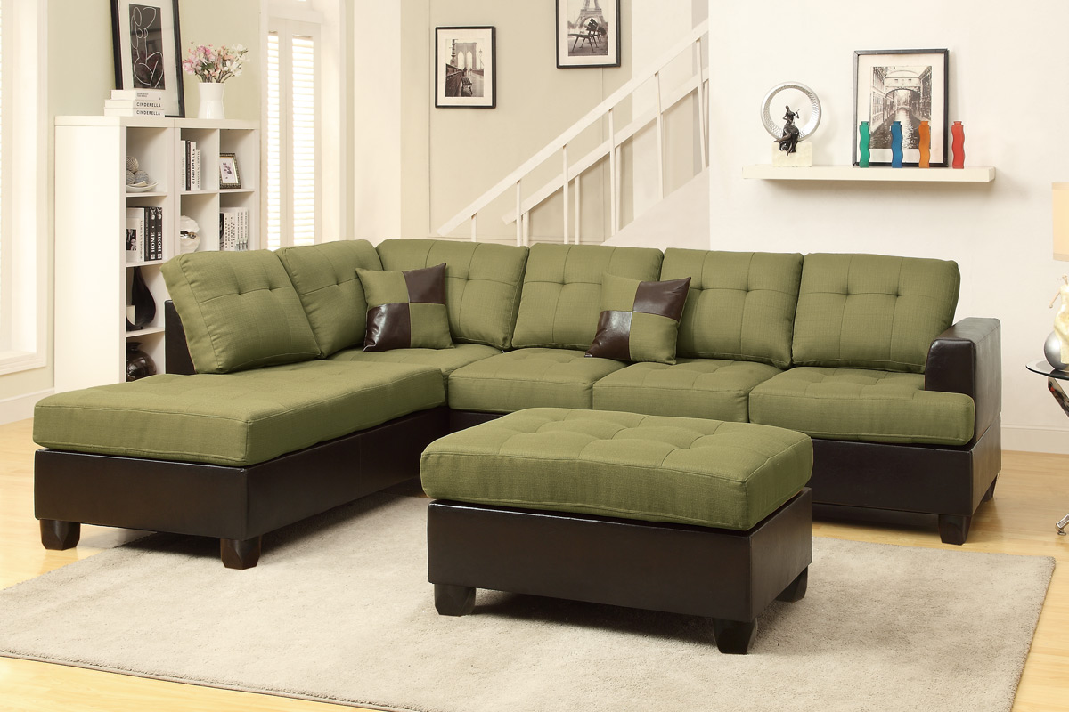Poundex Alameda F7604 Peridot Microfiber Sectional With