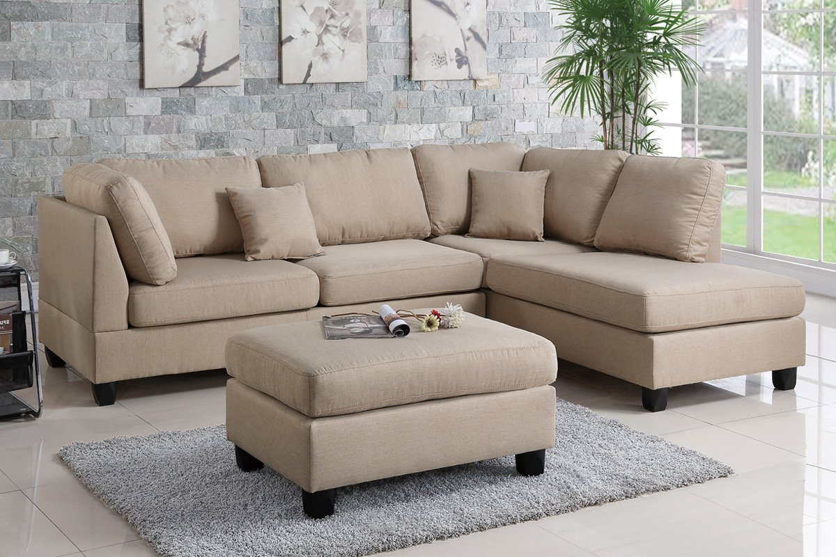 Poundex Bobkona F7605 Sand Reversible Chaise Sectional Sofa & Ottoman