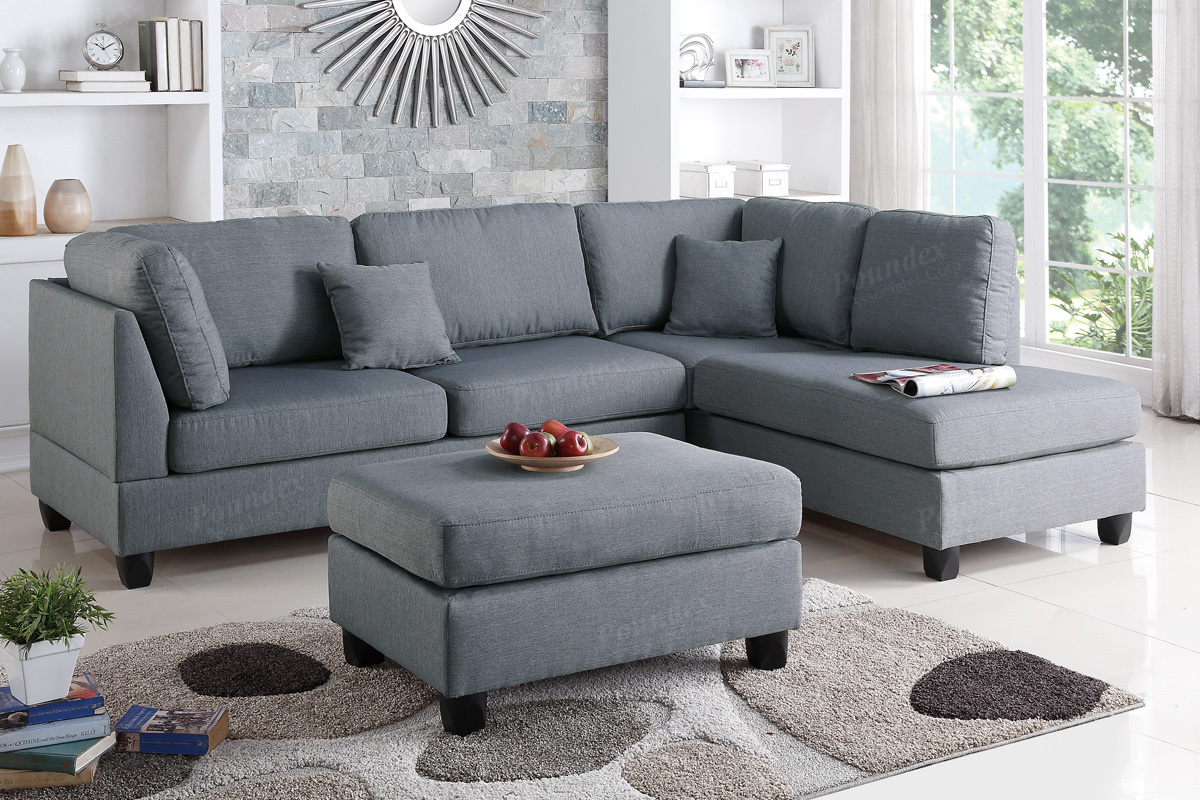 Poundex Bobkona F7606 Grey Reversible Chaise Sectional