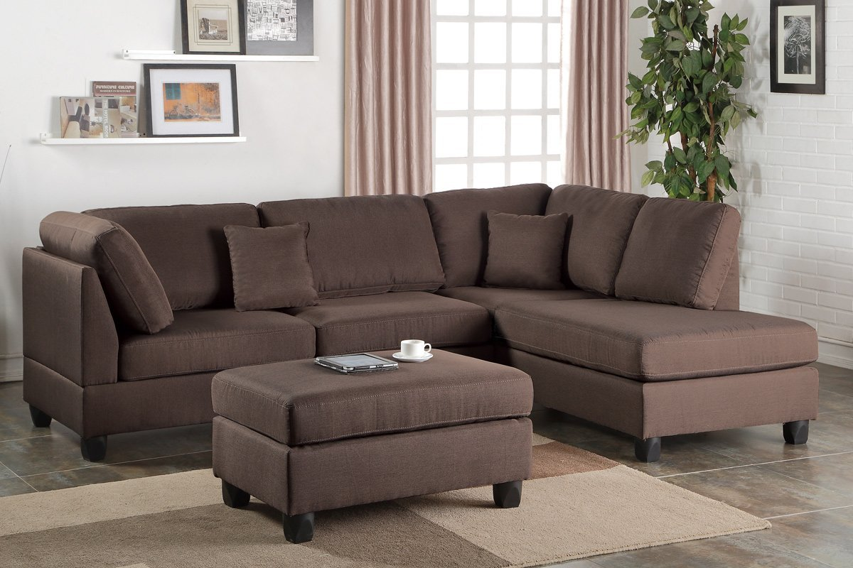 Fabor F7608 Chocolate Reversible Sectional With Ottoman