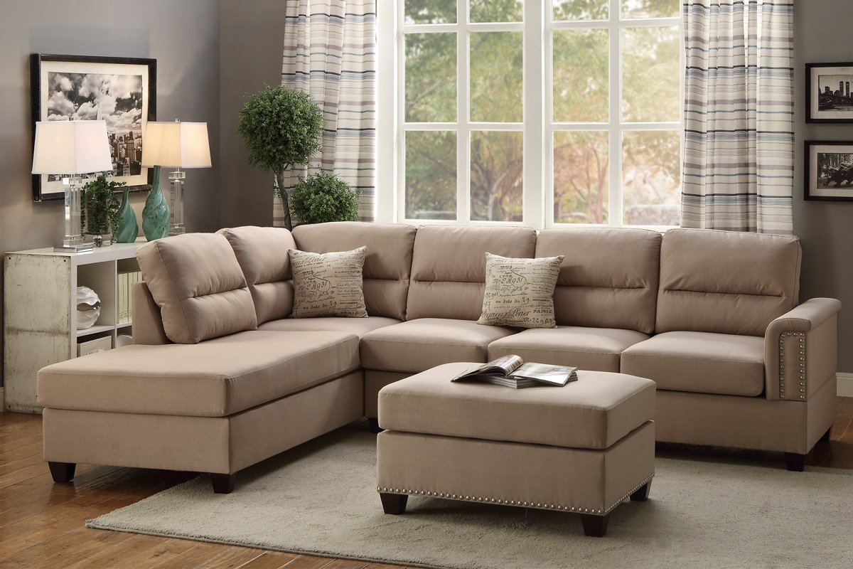 Poundex Hayward F7614 Sand Colored Polyfiber Sectional And