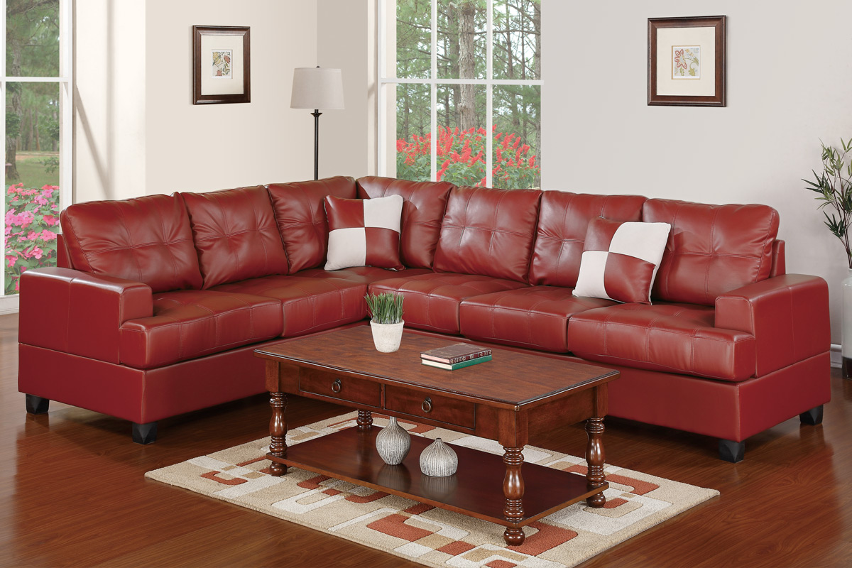 Fine Manteca F7642 Burgundy Modern Bonded Leather Sectional Ocoug Best Dining Table And Chair Ideas Images Ocougorg