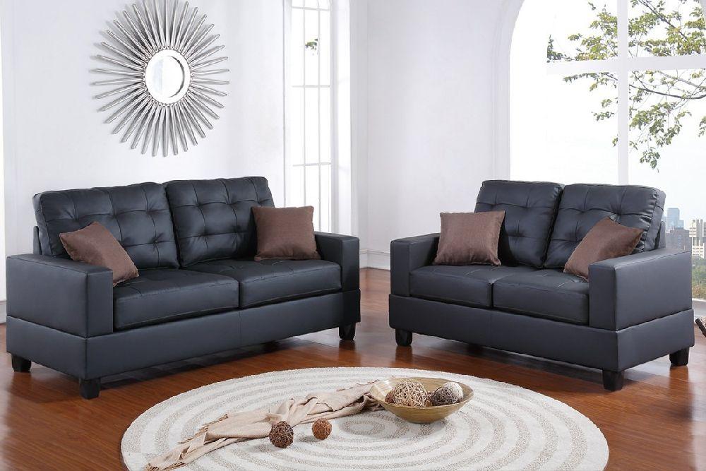 Coolidge F7855 Black Modern Sofa and Loveseat Set