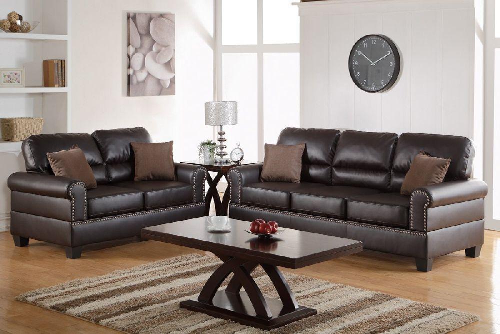 Tracie F7878 Espresso Nailhead Trim Sofa Set