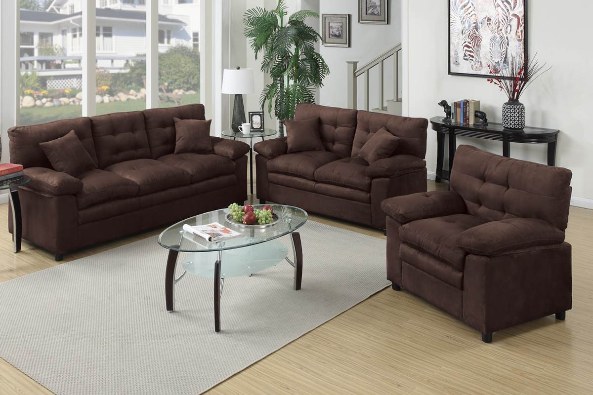 Chocolate Microsuede 3pc Sofa Set Images Products F7908 Jpg