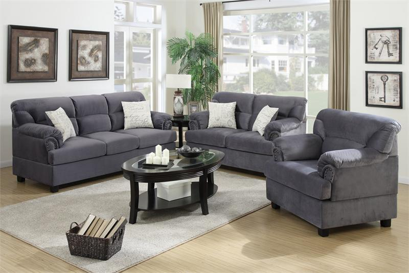 Poundex Renny F7916 Grey Microfiber Traditional 3pc Sofa Set