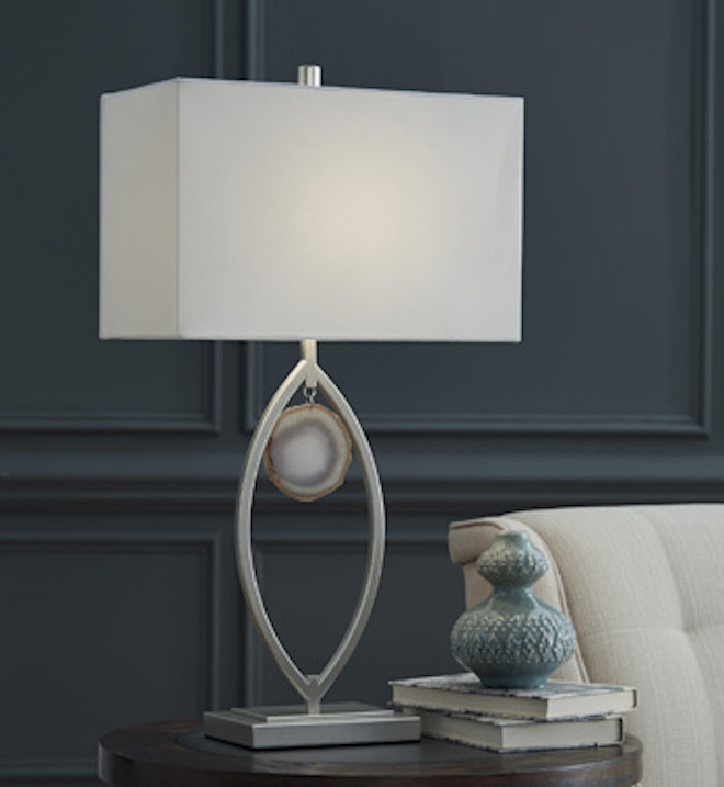 L207214 Lindsy By Ashley Metal Table Lamp In Silver