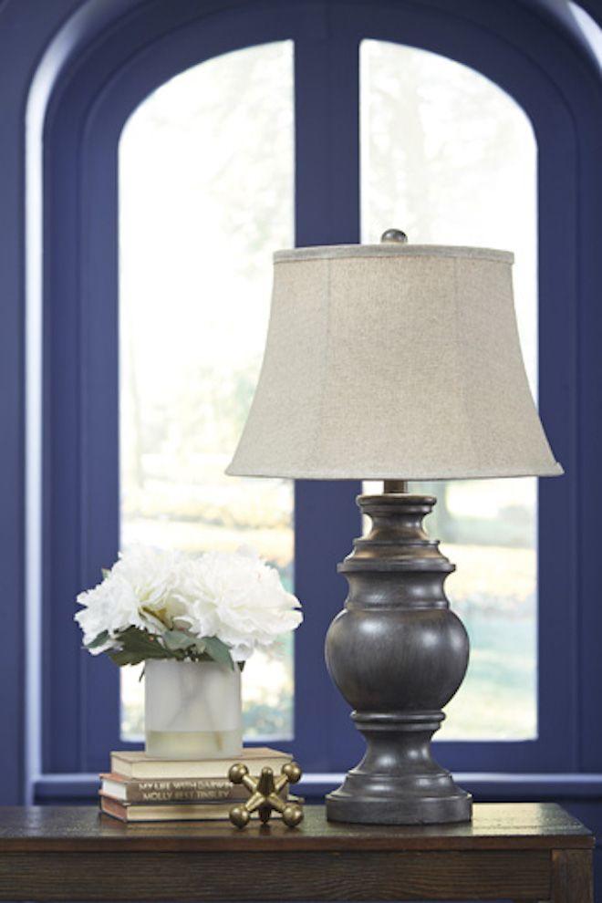 L235354 Leonadra Ashley Poly Table Lamp Set Of 2 Antique Black Casual