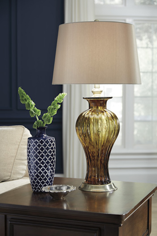 L430354 Ardal By Ashley Glass Table Lamp In Amber