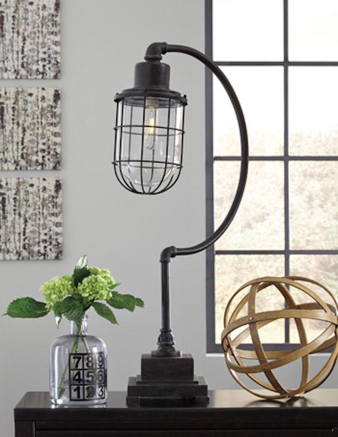 L734232 Jae By Ashley Metal Desk Lamp In Antique Black