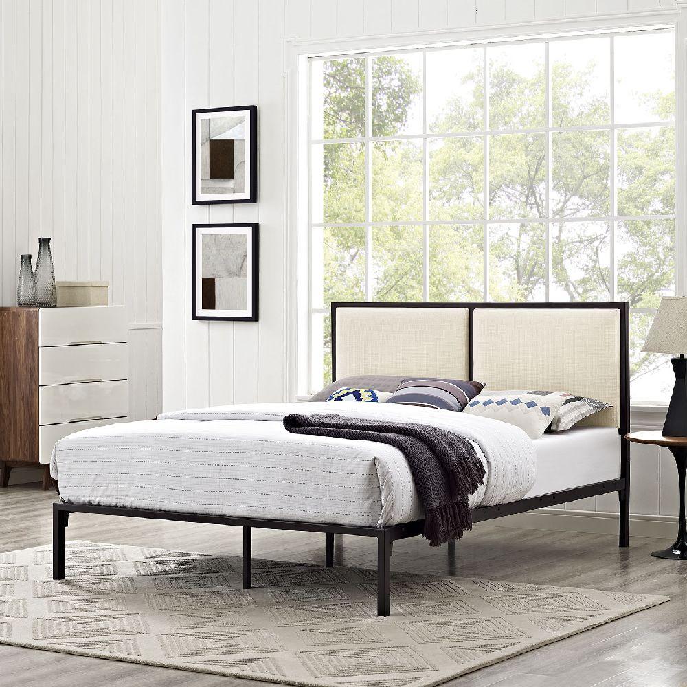 metal platform bed frame. Della 5463 King Brown Metal Platform Bed Frame With Beige Fabric Panel Headboard