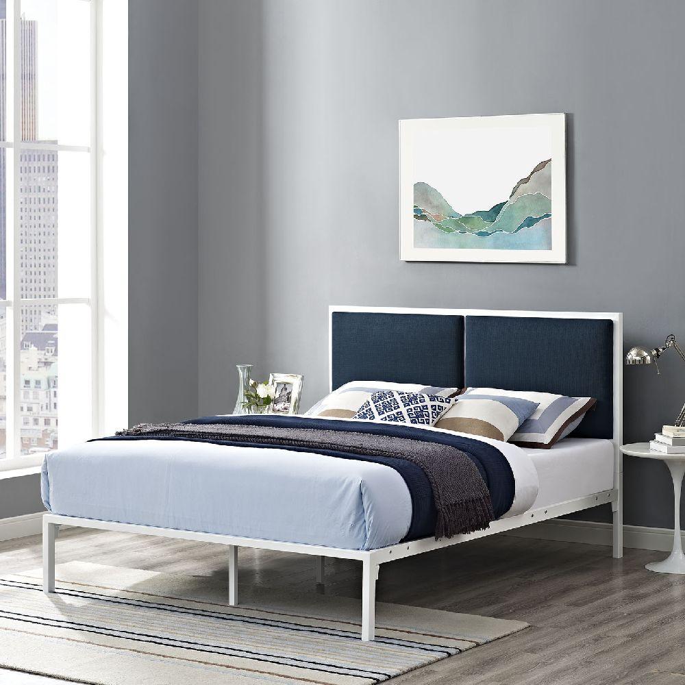 Modway Furniture 5463 White Metal King Bedframe With