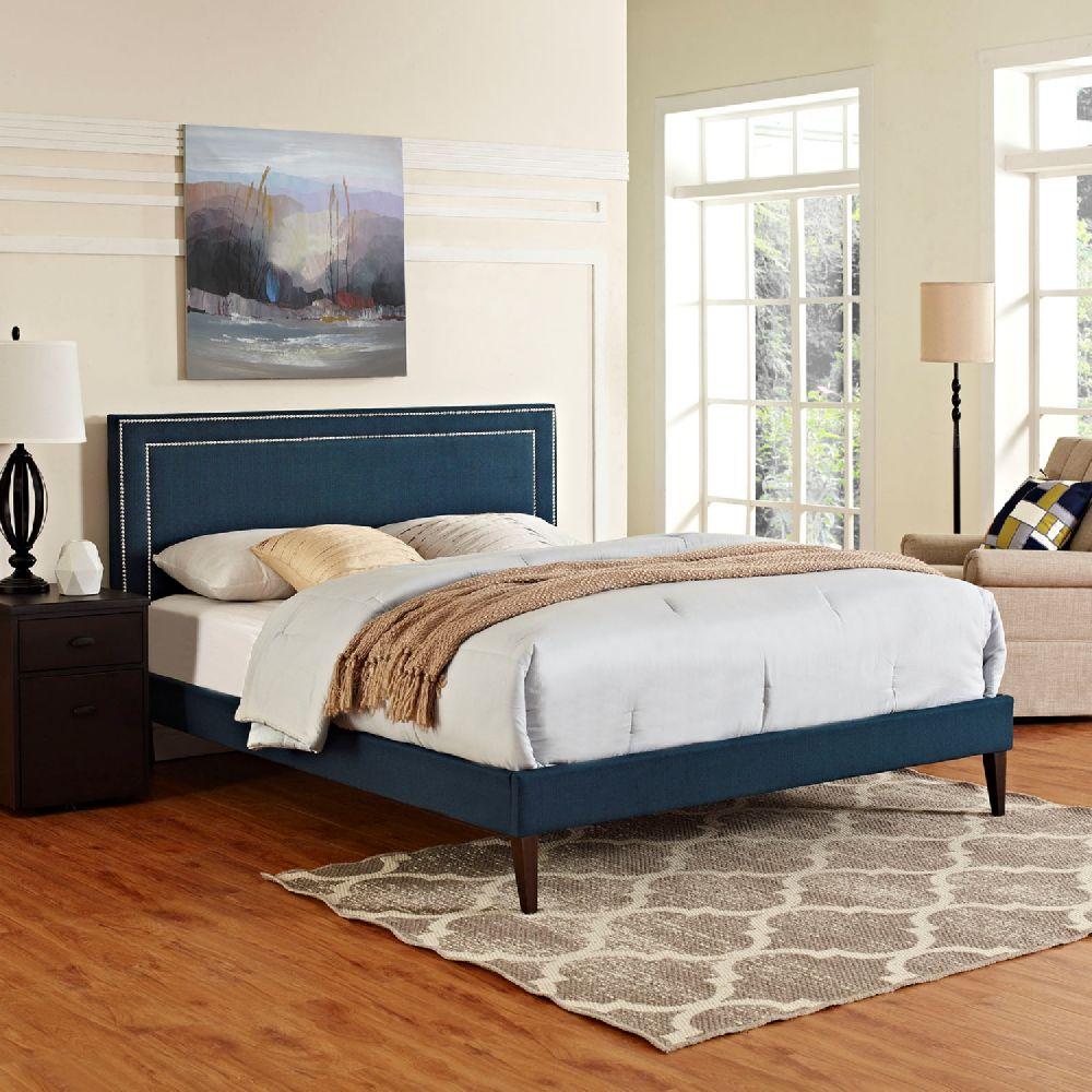 Modway Furniture 5652 Navy Blue King Fabric Platform Bed Frame