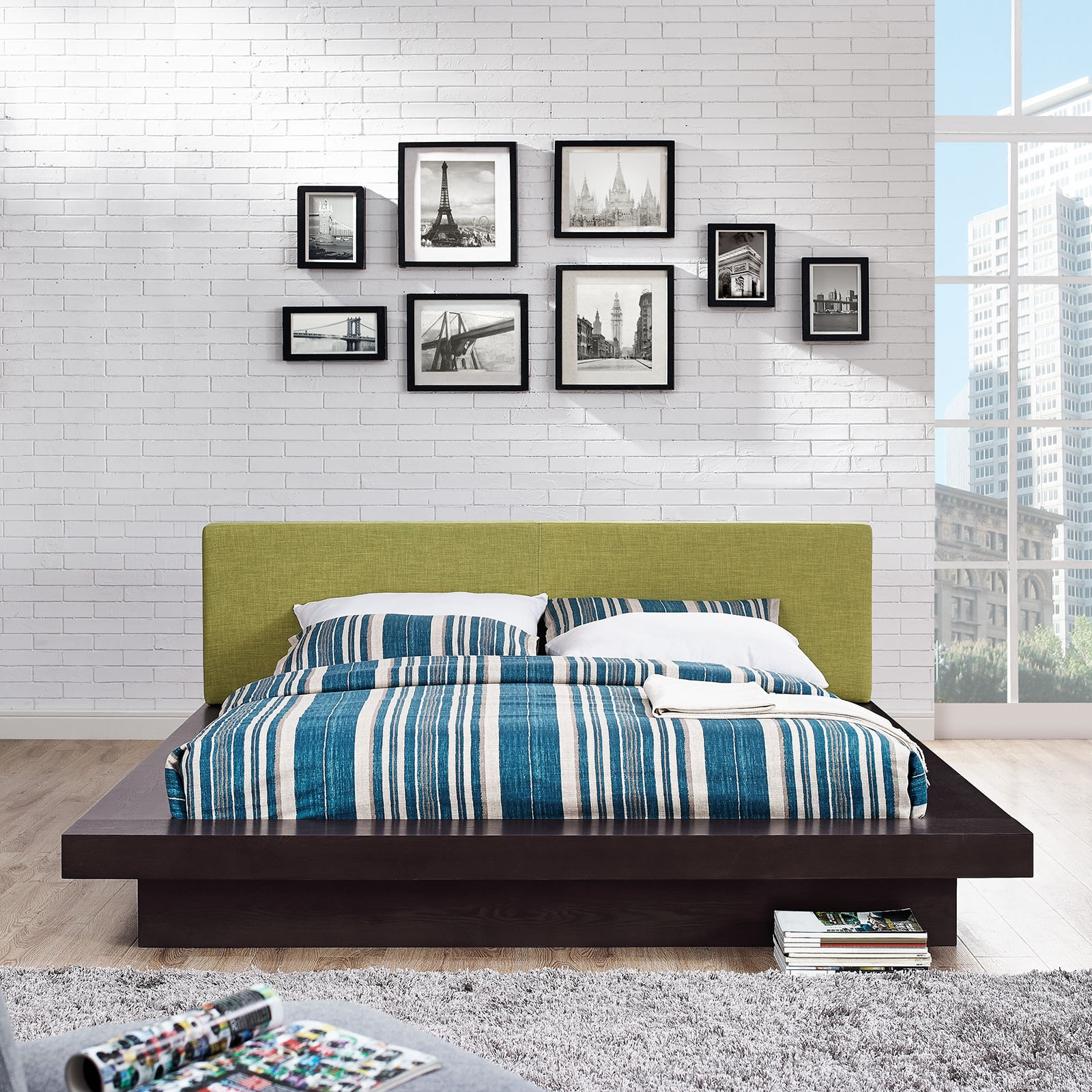 Modway 5721 Cappuccino Queen Platform Bed W Green Fabric