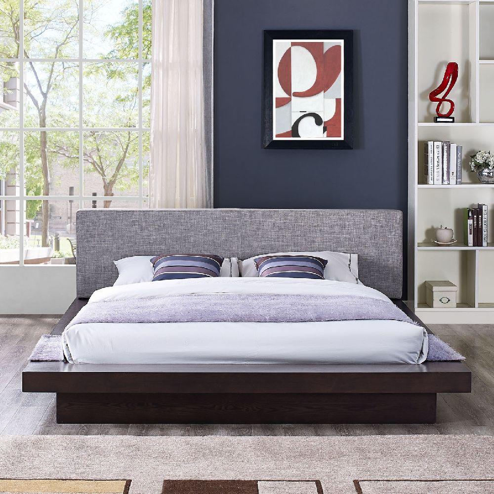 modway cappuccino queen platform bed w