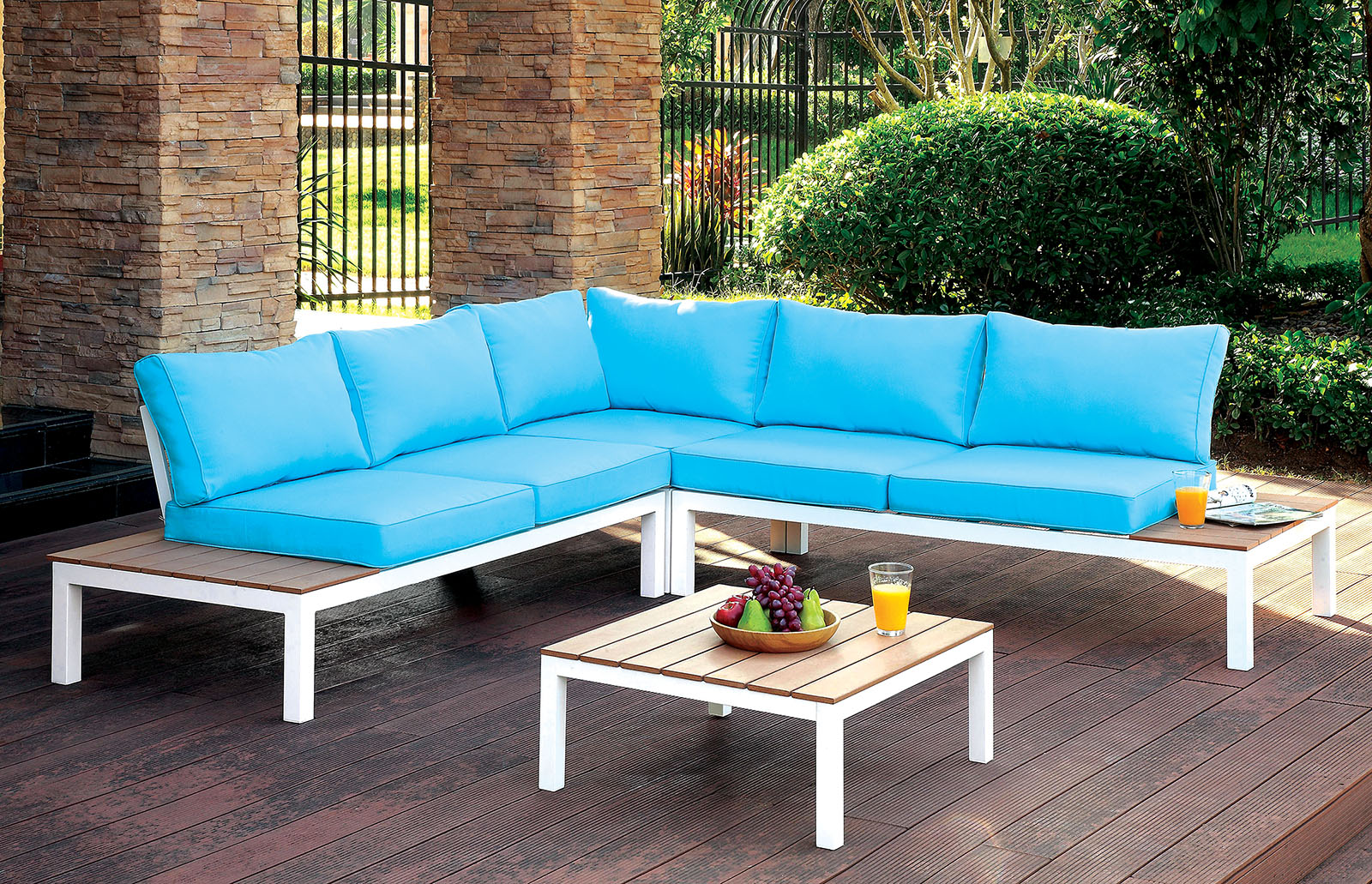 Os2580 Outdoor Patio Sectional Blue And White Los Angeles