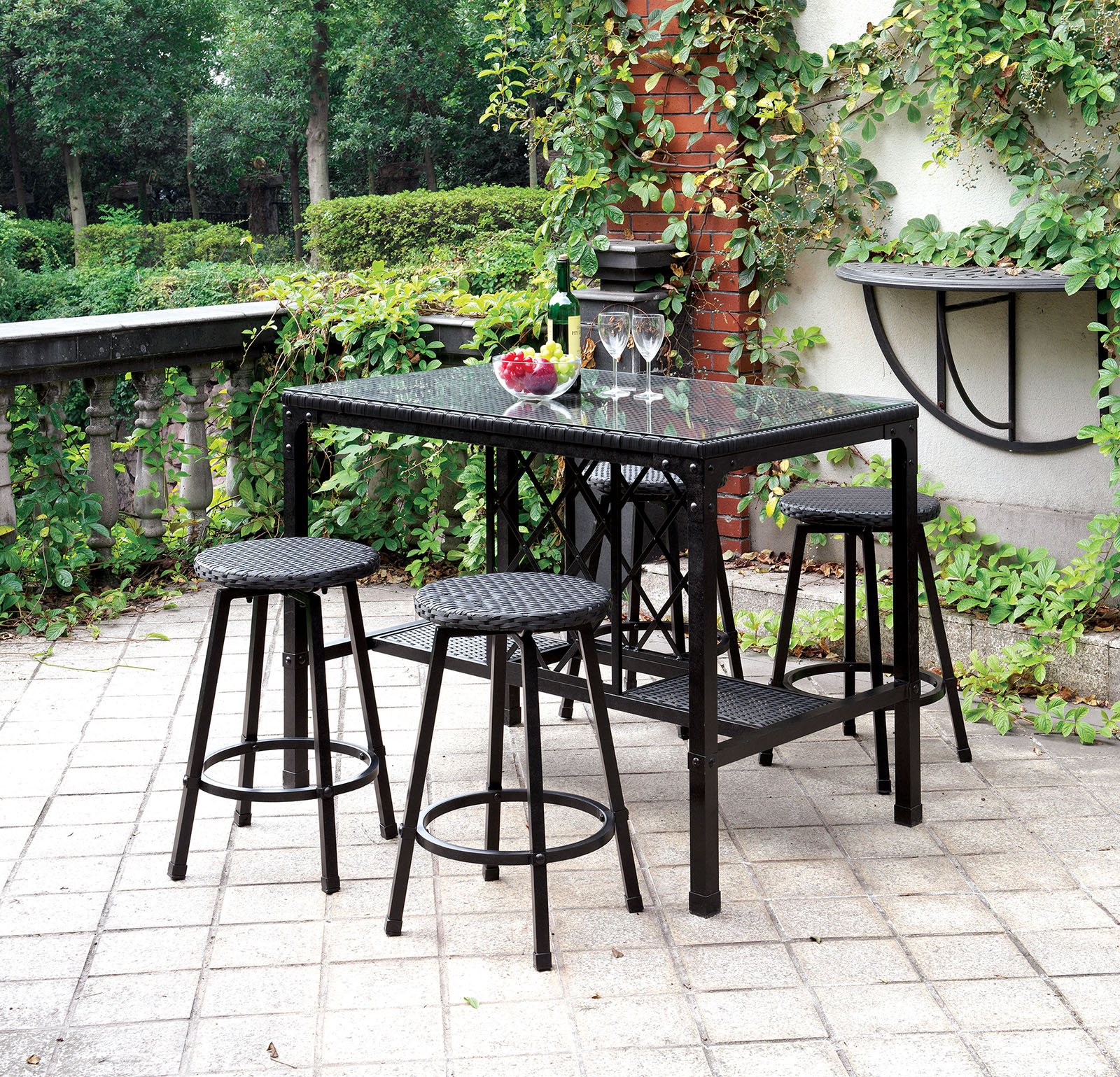 Ot2318pt Brown 5 Pc Outdoor Patio Counter Height Dining