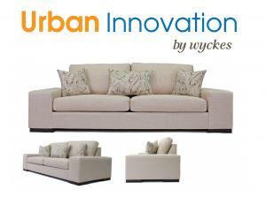 Customizable modern low sofa loveseat with extra wide arms