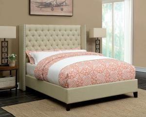 eastern king upholstered bed beige bed frame bronze nail head trim. Black Bedroom Furniture Sets. Home Design Ideas