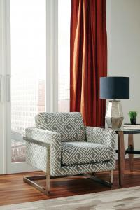 Grey Fabric Dining Chairs Chrome Legs