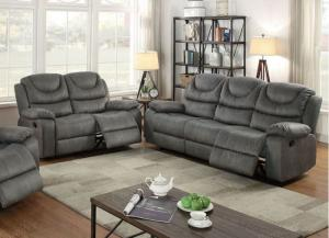 Poundex Pacer F6766 F6765 Slate Grey Leatherette