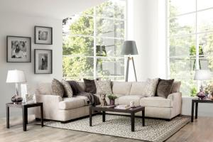 Aliso Ivory Fabric Sectional By Furniture Of America Sm3079