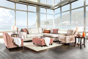 Esmay Ivory Chenille Fabric Sofa Sm8115 By Furniture Of