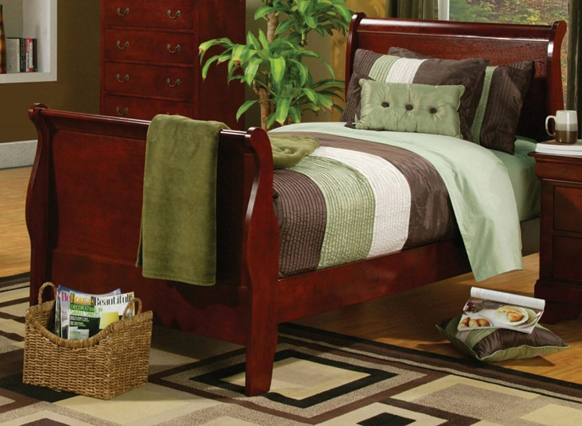 Louis philippe collection 200431y cherry sleigh youth bedroom set for Louis philippe bedroom collection